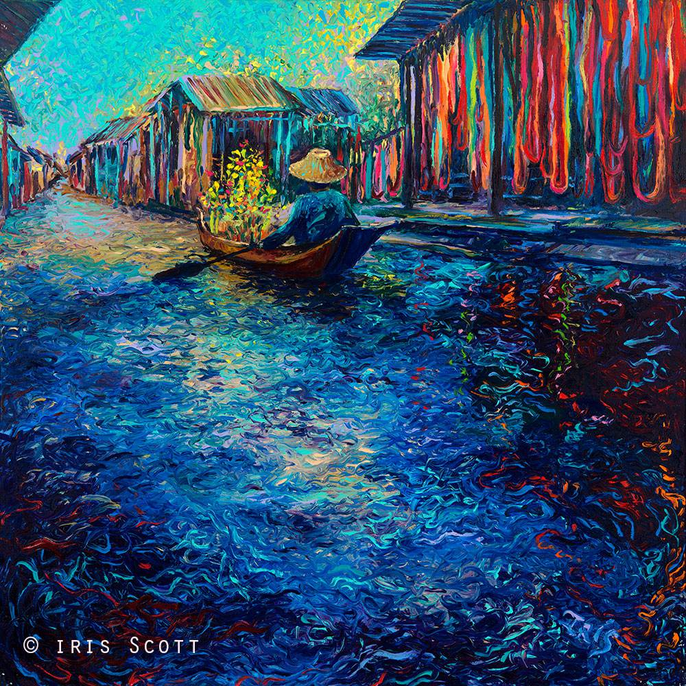 Colorful impressionistic oil paintings painted entirely with the fingers by Iris Scott 4