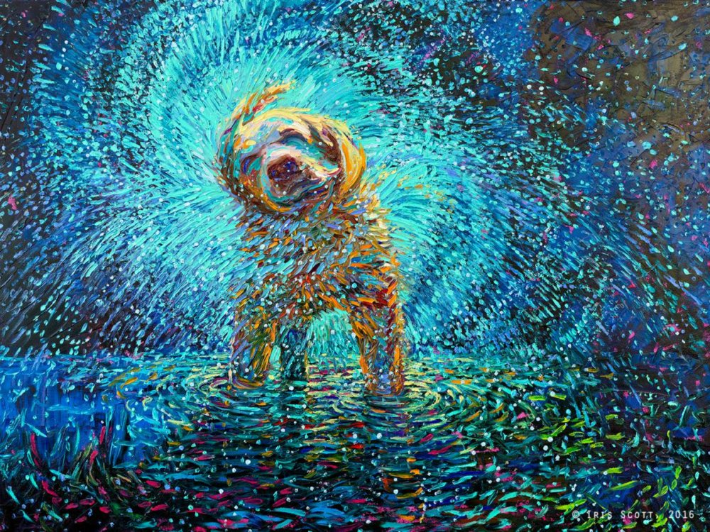 Colorful impressionistic oil paintings painted entirely with the fingers by Iris Scott 6