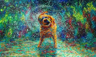 Colorful impressionistic oil paintings painted entirely with the fingers by Iris Scott