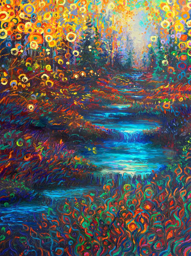 Colorful impressionistic oil paintings painted entirely with the fingers by Iris Scott 9