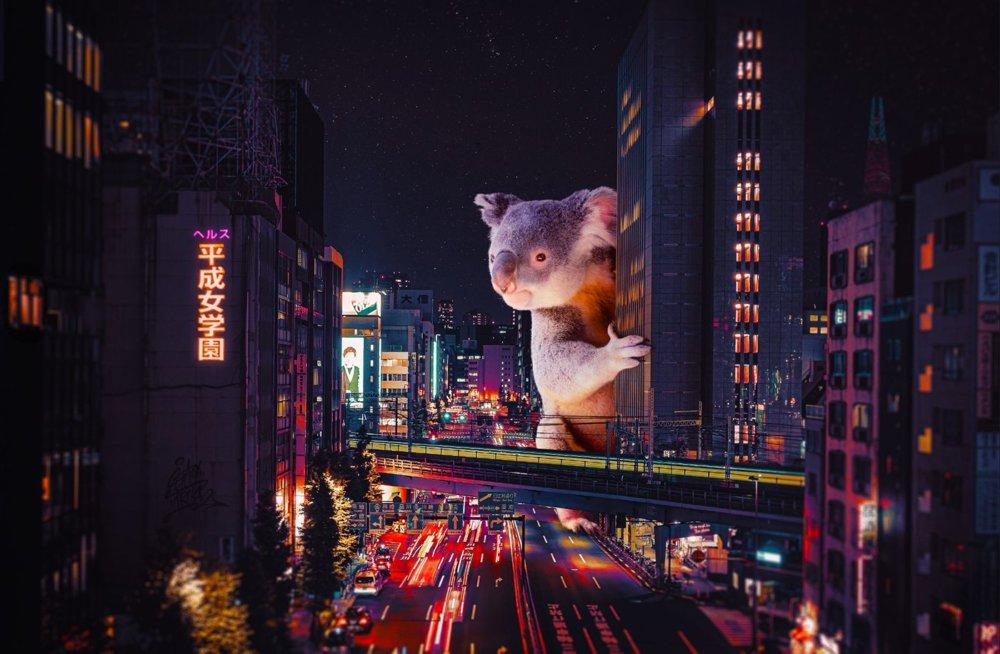 Cyberpunk Scenarios Of Wild Animals Roaming Around Nightly Cityscapes By Carlos Jimenez Varela 1