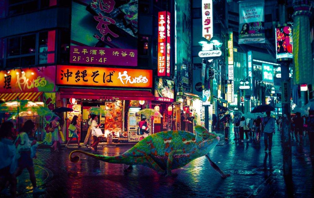 Cyberpunk Scenarios Of Wild Animals Roaming Around Nightly Cityscapes By Carlos Jimenez Varela 10