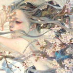 Detailed oil paintings of introspective women merged with nature elements by Miho Hirano