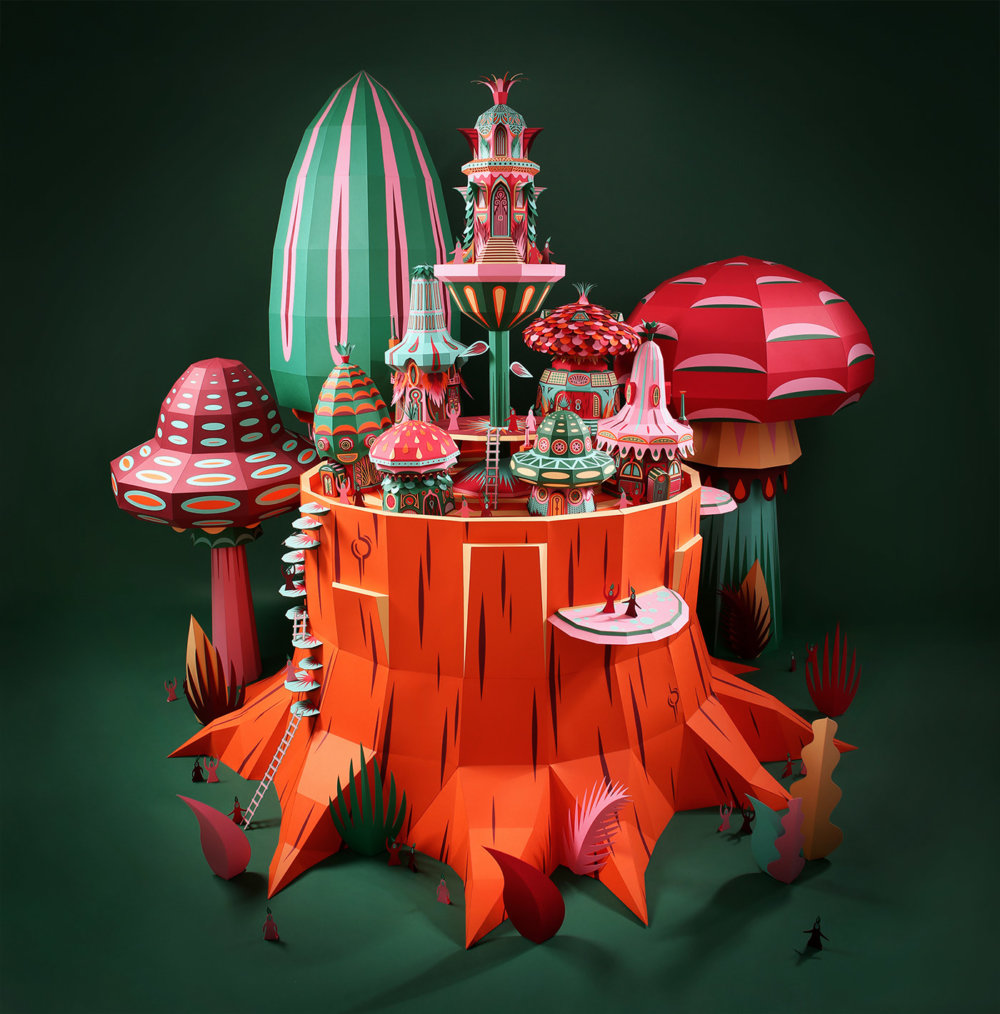 Forest Folks Fascinating Colorful Papercraft Sculptures By Zim And Zou 1