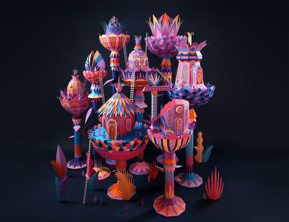 Forest Folks Fascinating Colorful Papercraft Sculptures By Zim And Zou 2