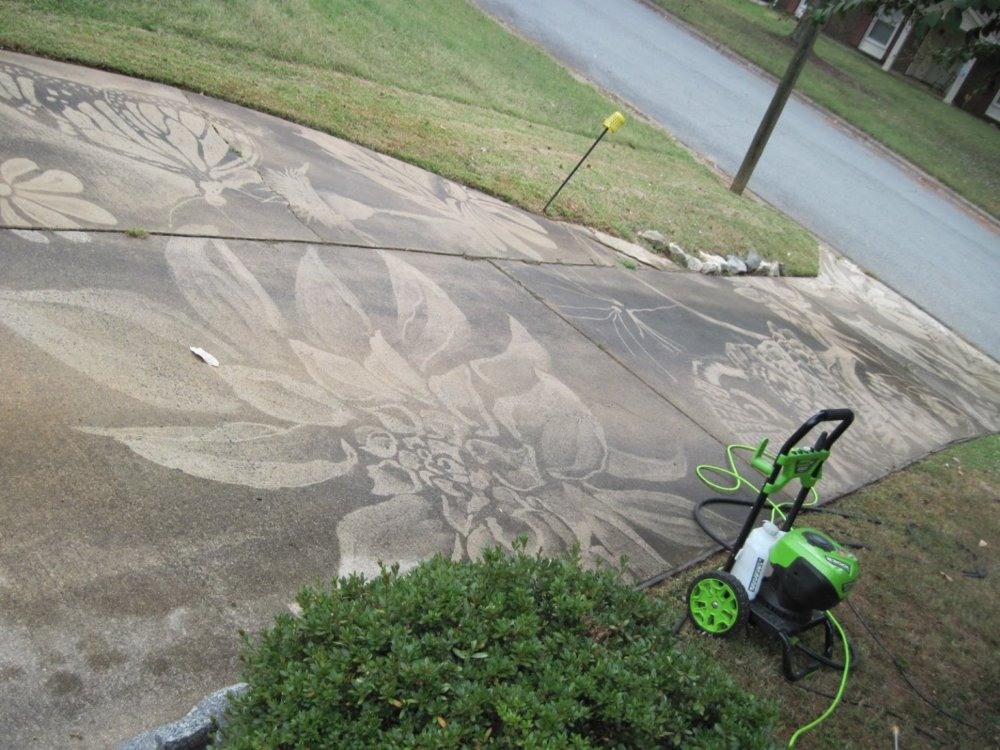 Gorgeous Figures Painted With A Power Washer On Dirty Driveways By Dianna Wood 5