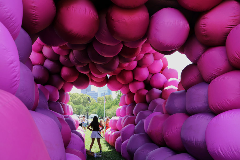 Immersive Pyramid Installations Formed Of Giant Inflatable Pink Tubes And Spheres Designed By Cyril Lancelin 1