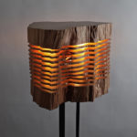 Minimalist and sculptural sliced wood lamps by Split Grain