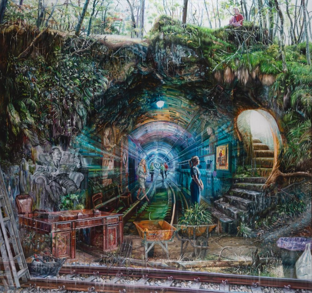 Natural And Human Environments Mixed Into Intricate Overlapped Oil Paintings By Jacob Brostrup 3