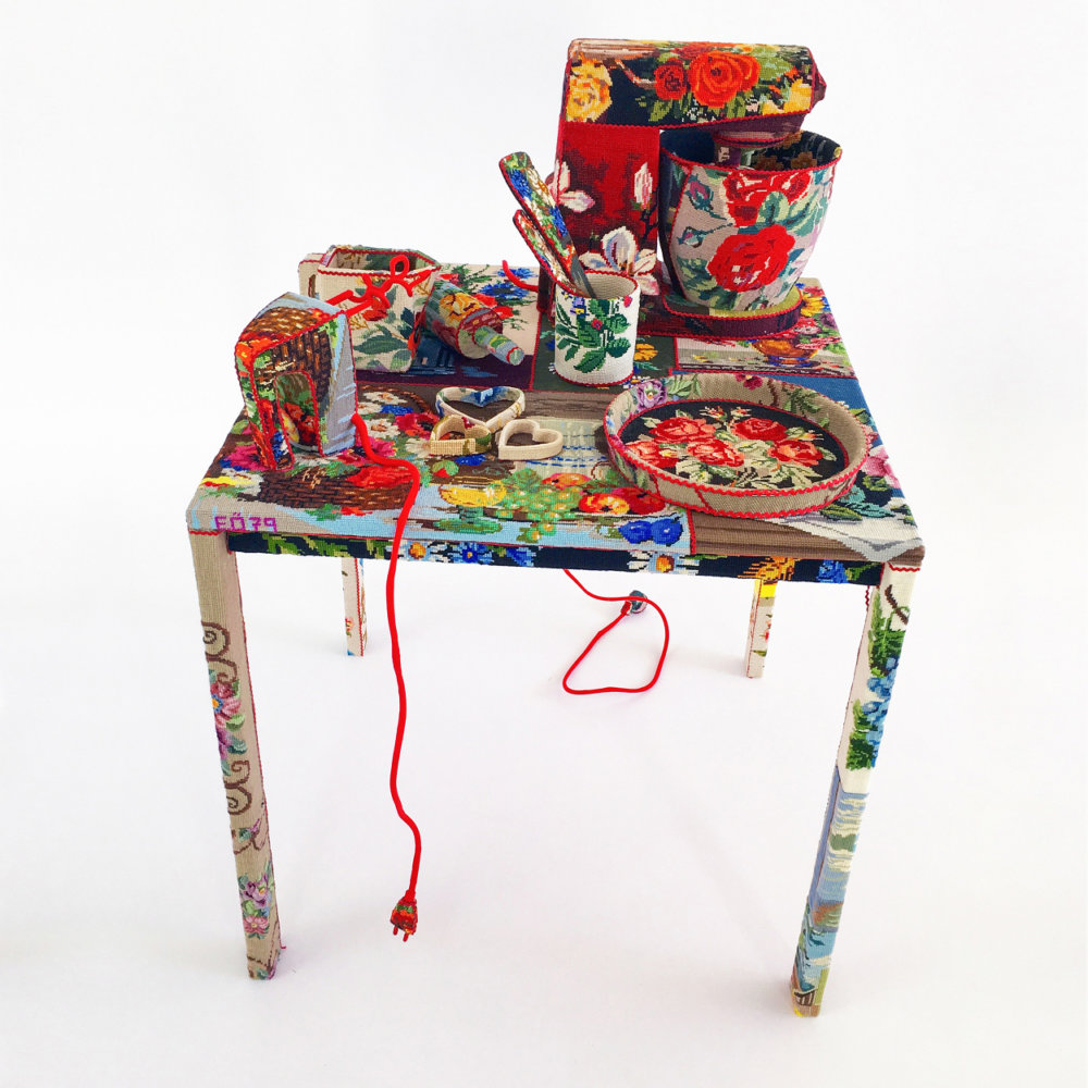 Obsolescence Domestic Objects Entirely Covered In Stamped Embroidery By Ulla Stina Wikander 10