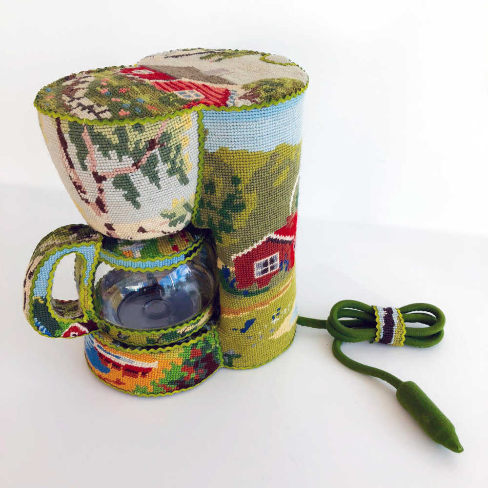 Obsolescence Domestic Objects Entirely Covered In Stamped Embroidery By Ulla Stina Wikander 8