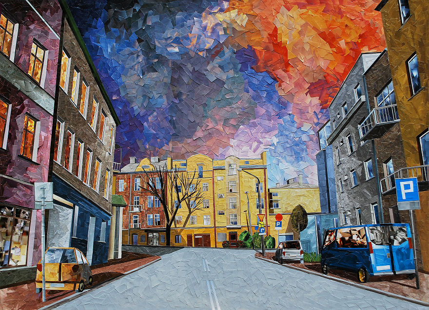 Paper Collage Cityscapes That Look Like Oil Paintings By Albin Talik 3