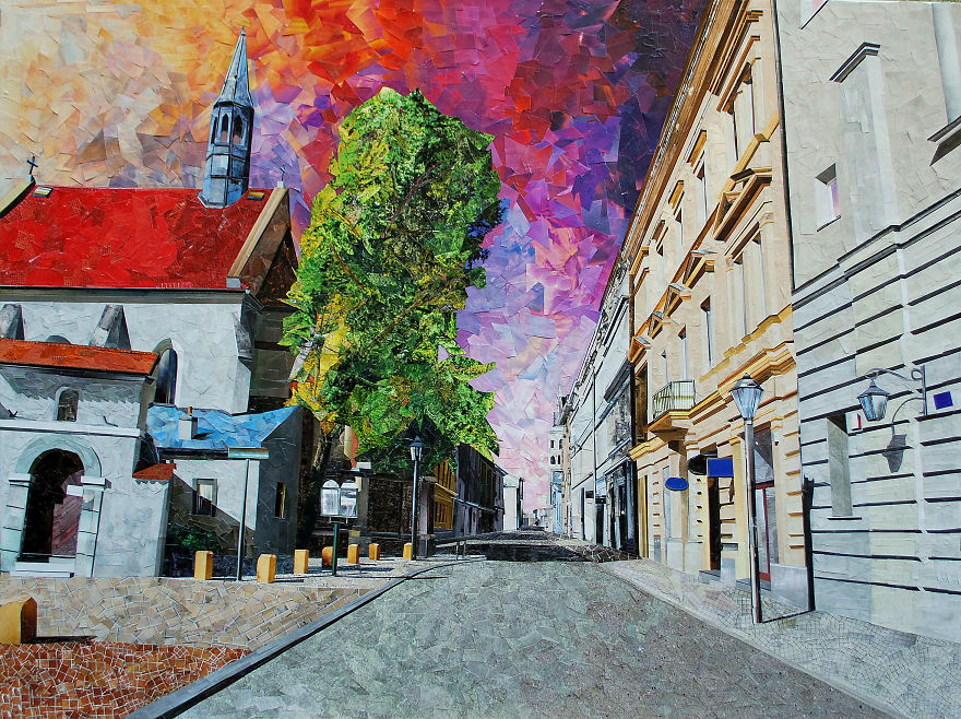 Paper Collage Cityscapes That Look Like Oil Paintings By Albin Talik 4