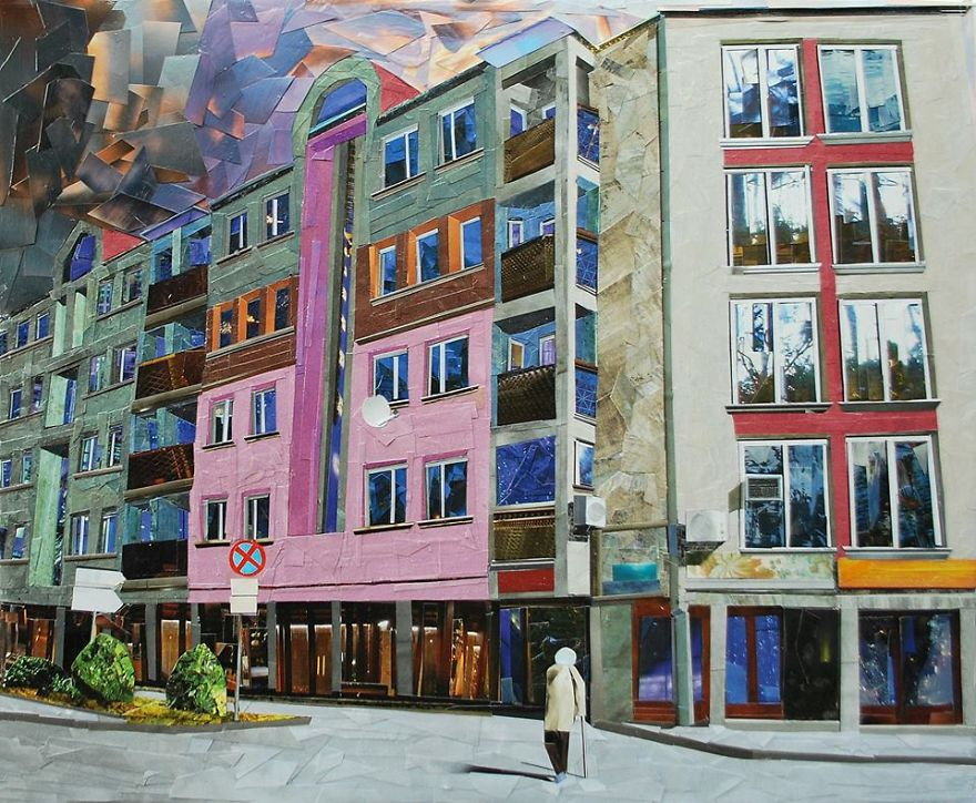Paper Collage Cityscapes That Look Like Oil Paintings By Albin Talik 6