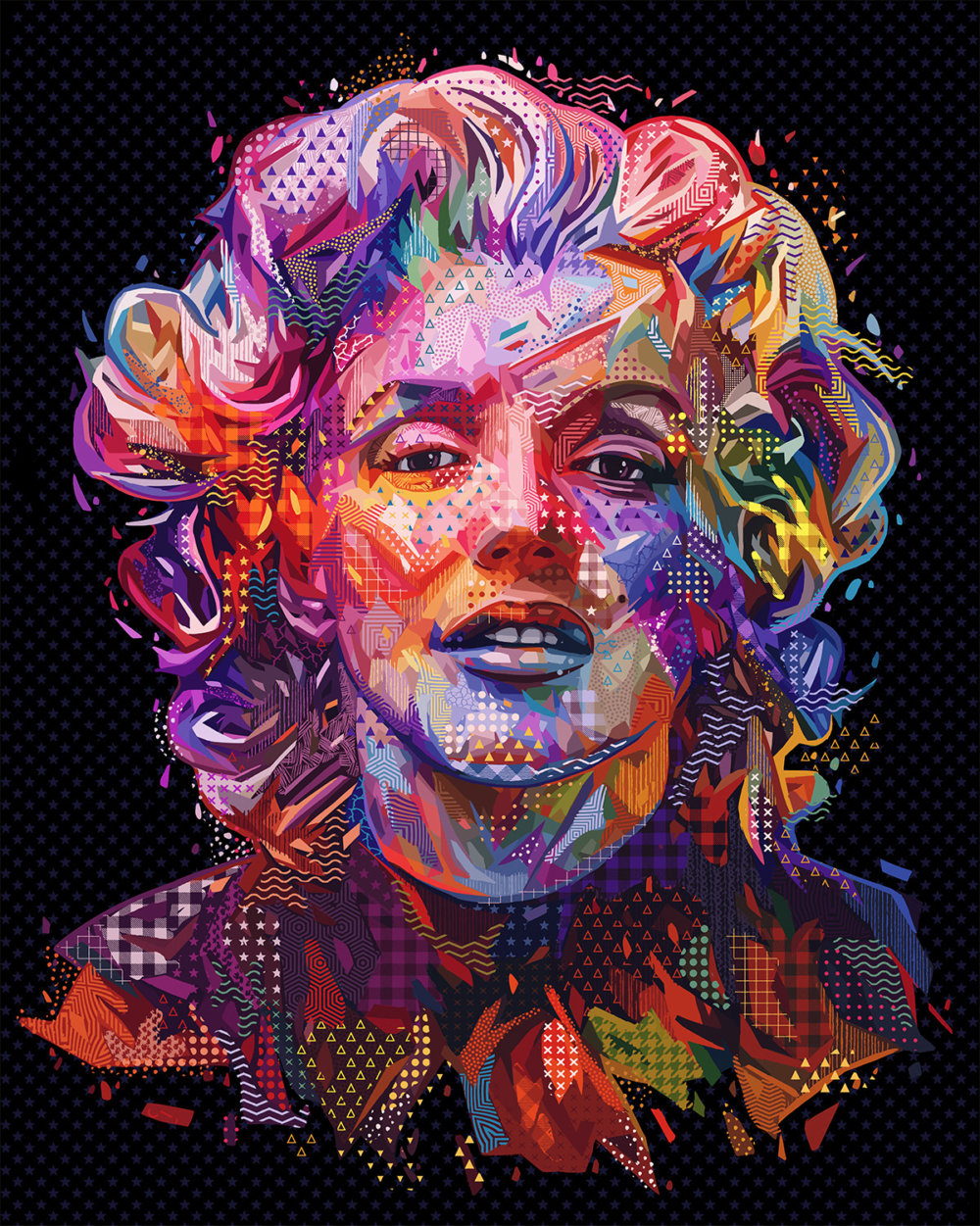 Pop Portraits Illustrations Of Pop Culture Icons In Colorful Patterns By Alessandro Pautasso 9