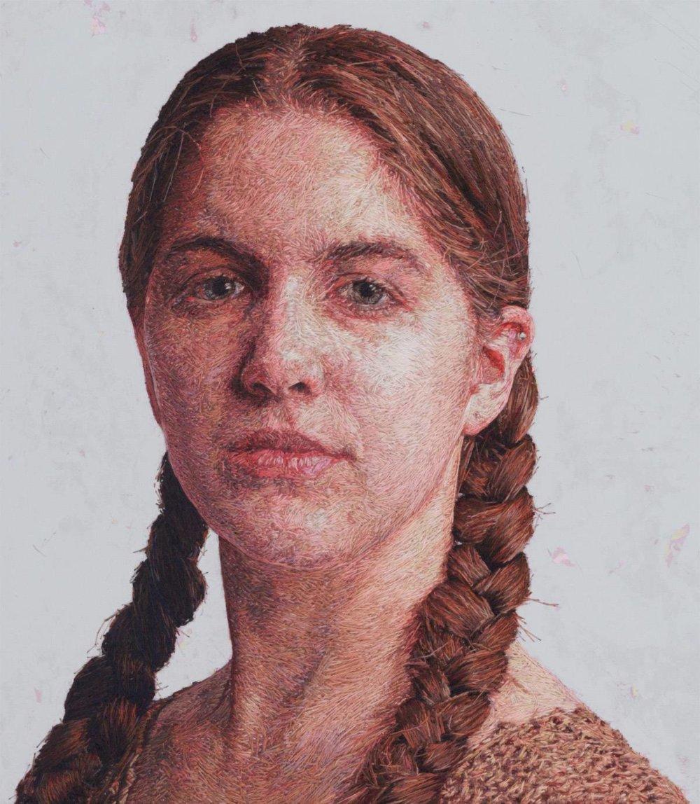 Realistic Embroidered Portraits By American Artist Cayce Zavaglia 8