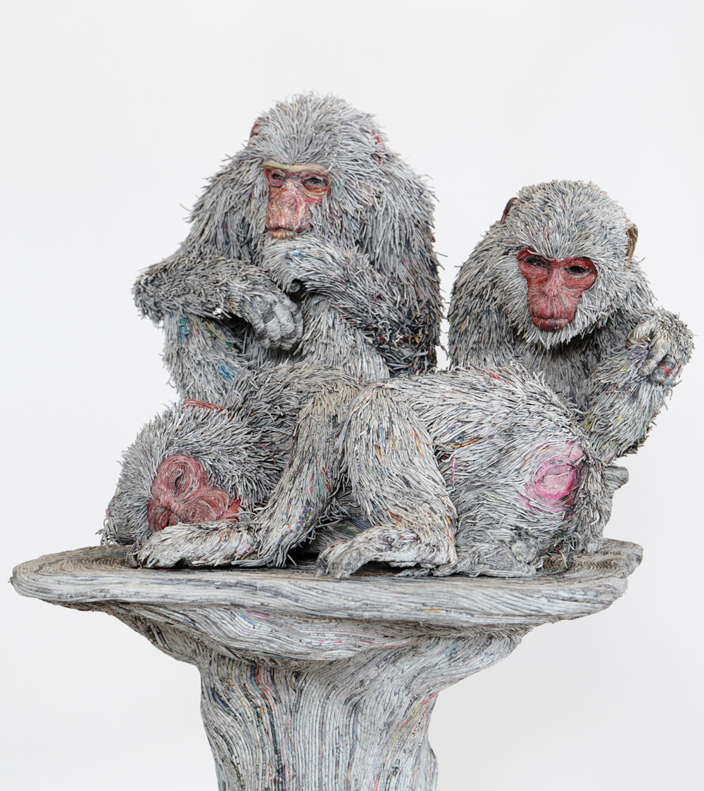 Stunning Lifelike Animal Sculptures Made From Thousands Of Densely Rolled Newspaper By Chie Hitotsuyama 3