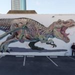 Surrealist murals of anatomical figures by Nychos
