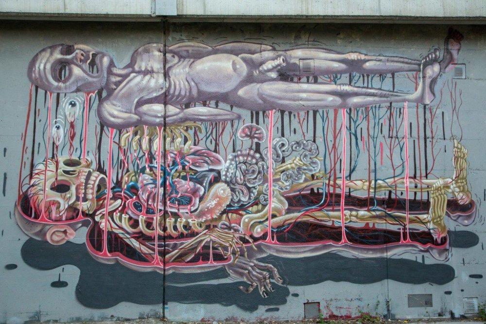Surrealist Murals Of Anatomical Figures By Austrian Artist Nychos 5
