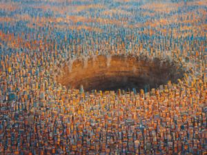 Surrealist paintings of dystopian worlds by Michael Kerbow
