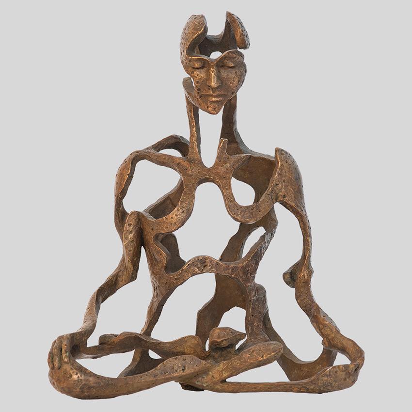 Transcendence Sublime Surrealistic Bronze Sculptures Of People In Meditation By Sukhi Barber 5