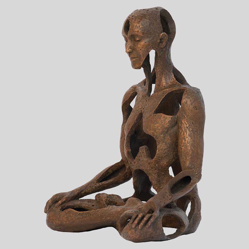 Transcendence Sublime Surrealistic Bronze Sculptures Of People In Meditation By Sukhi Barber 6