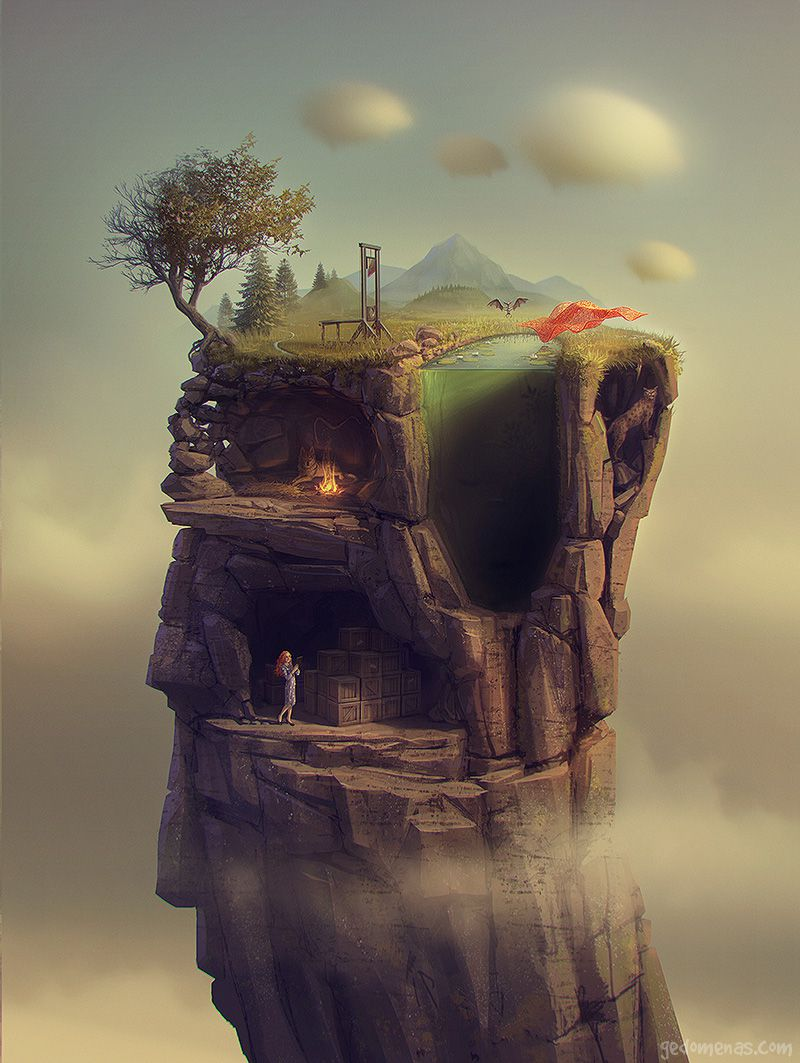 A Slice Of Life - Dreamlike Landscapes Awesome Surrealist Illustrations By Gediminas Pranckevicius