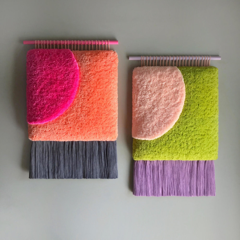 Abstract And Improvised Wall Tapestries With Vibrant Colors By Judit Just Antelo 1