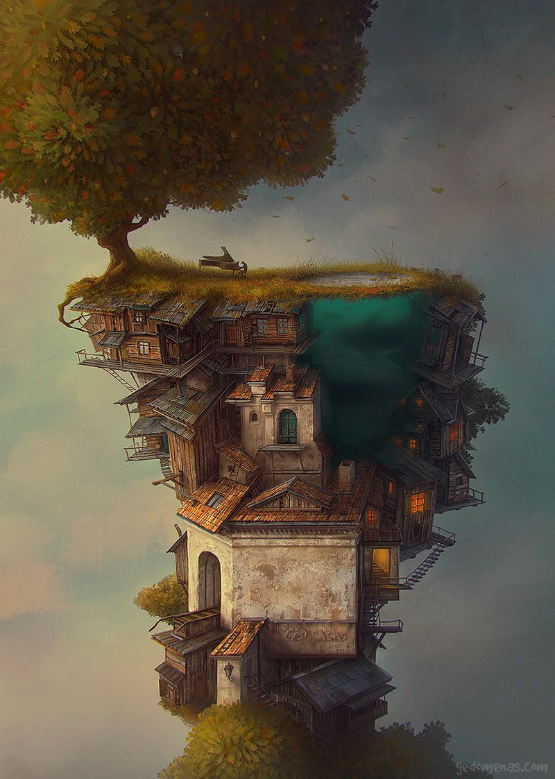 Autumn - Dreamlike Landscapes Awesome Surrealist Illustrations By Gediminas Pranckevicius