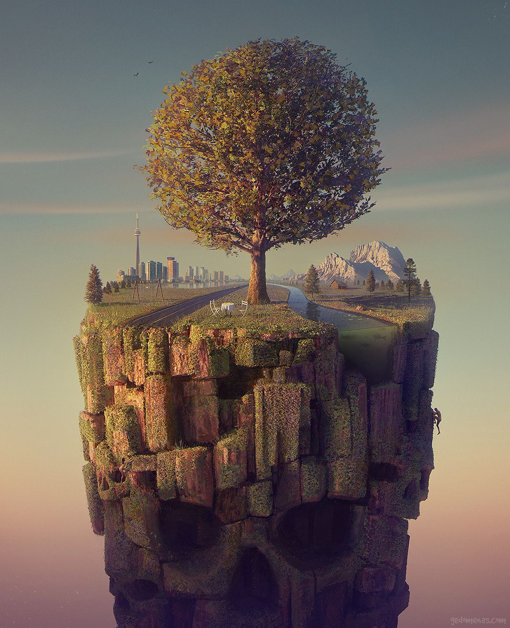 Coffe Date - Dreamlike Landscapes Awesome Surrealist Illustrations By Gediminas Pranckevicius