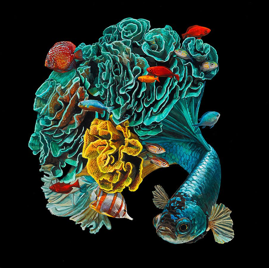 Fish And Coral Reefs Twisted Into The Lush Acrylic Paintings Of Lisa Ericson 3