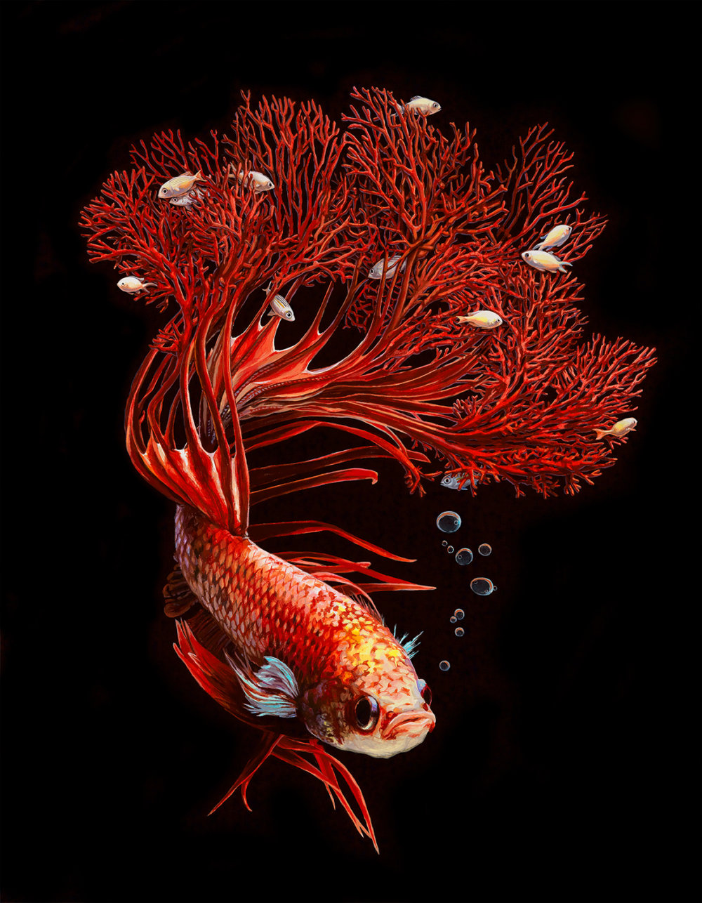 Fish And Coral Reefs Twisted Into The Lush Acrylic Paintings Of Lisa Ericson 9