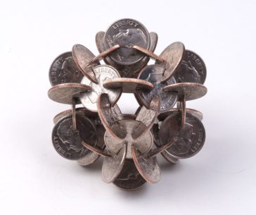 Geometric sculptures made from old coins by Robert Wechsler