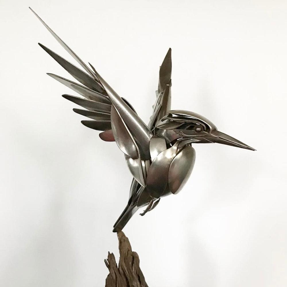 Incredible Silverware Animal Sculptures By Matt Wilson 7