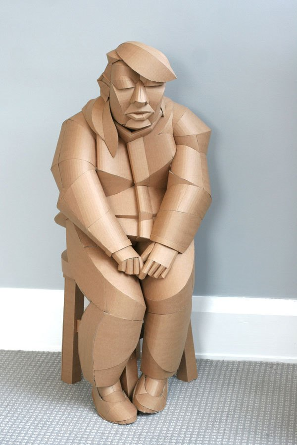 Magnificent Figurative Sculptures Made Entirely Out Of Cardboard By Warren King 10