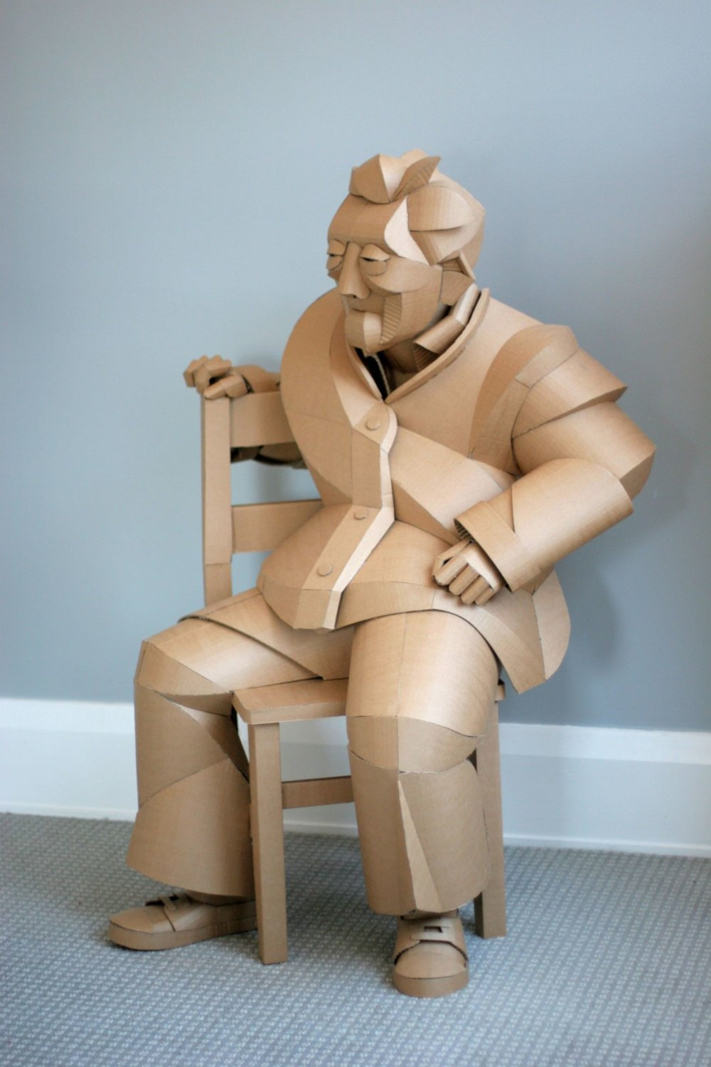 Magnificent Figurative Sculptures Made Entirely Out Of Cardboard By Warren King 4