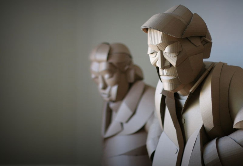 Magnificent Figurative Sculptures Made Entirely Out Of Cardboard By Warren King 8