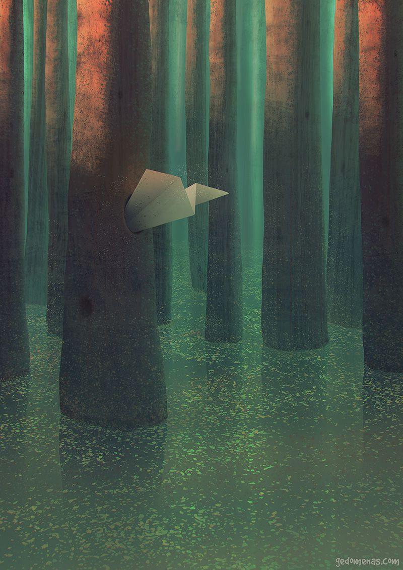 Secret Place 03 - Dreamlike Landscapes Awesome Surrealist Illustrations By Gediminas Pranckevicius