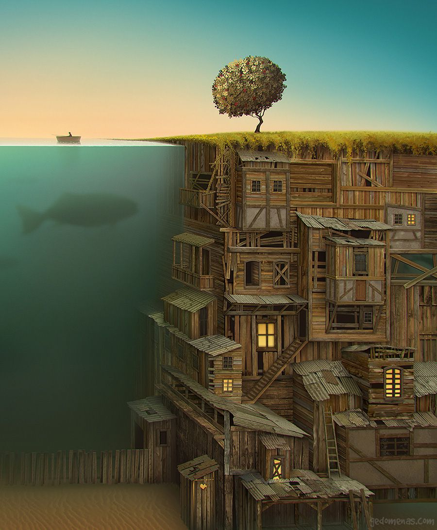 Time - Dreamlike Landscapes Awesome Surrealist Illustrations By Gediminas Pranckevicius